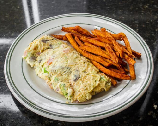 Garden Omelette w/ Sweet Potato Fries